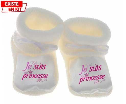 Chausson personnalisé Je suis une princesse  Chausson bébé 1ebca6ab943