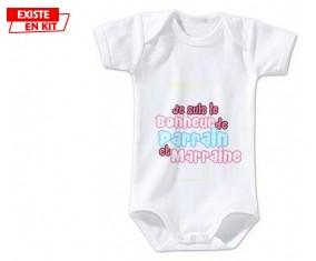 Je suis le bonheur de parrain et marraine style1: Body bébé-su7.fr