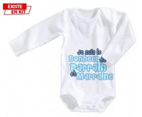 Je suis le bonheur de parrain et marraine style2: Body bébé-su7.fr