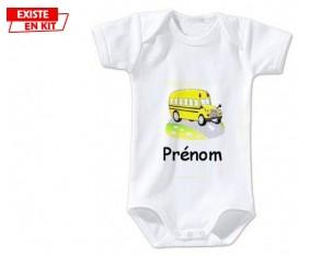 Bus jaune + prénom: Body bébé-su7.fr
