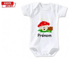 Champignon + prénom: Body bébé-su7.fr