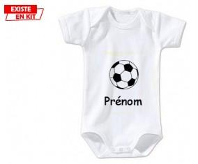Ballon foot + prénom: Body bébé-su7.fr