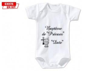 Baptême + prénom: Body bébé-su7.fr