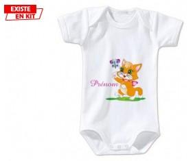 Chat papillon style1 + prénom: Body bébé-su7.fr