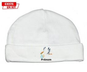 Cigogne (garçon) + prénom: Bonnet bébé-su7.fr