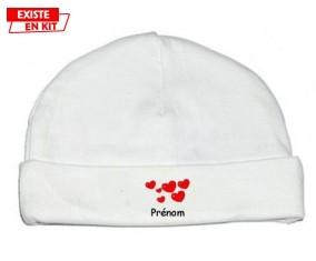 Cœurs Style2 + prénom : Bonnet bébé-su7.fr
