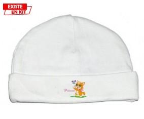 Chat papillon style1 + prénom: Bonnet bébé-su7.fr