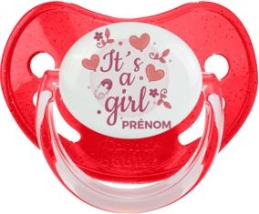 It's a girl + prénom : Sucette Rouge à paillette embout physiologique