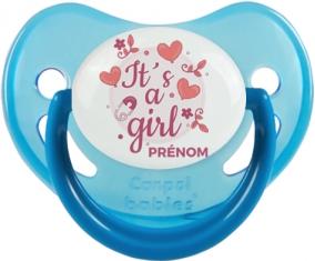 It's a girl + prénom : Sucette Bleue phosphorescente embout physiologique