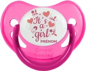 It's a girl + prénom : Sucette Rose phosphorescente embout physiologique