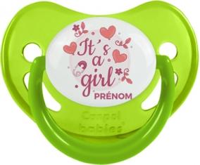 It's a girl + prénom : Sucette Vert phosphorescente embout physiologique