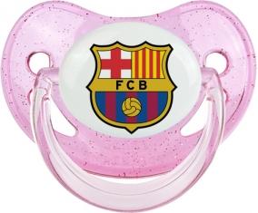 FC Barcelone : Sucette Rose à paillette embout physiologique