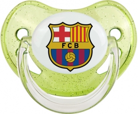 FC Barcelone : Sucette Vert à paillette embout physiologique