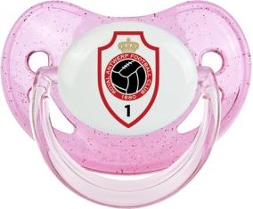 Royal Antwerp FC : Sucette Rose à paillette embout physiologique