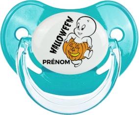 Halloween casper + prénom : Sucette Bleue classique embout physiologique