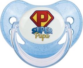 Super Papa : Sucette Bleue à paillette embout physiologique