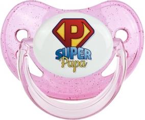 Super Papa : Sucette Rose à paillette embout physiologique