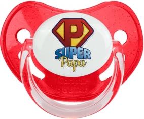 Super Papa : Sucette Rouge à paillette embout physiologique