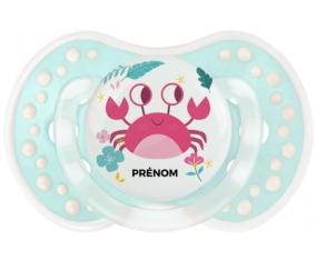 Crabe + prénom : 0/6 mois - Retro-turquoise-lagon classique embout Lovi Dynamic