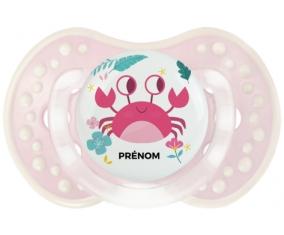 Crabe + prénom : 0/6 mois - Retro-rose-tendre classique embout Lovi Dynamic