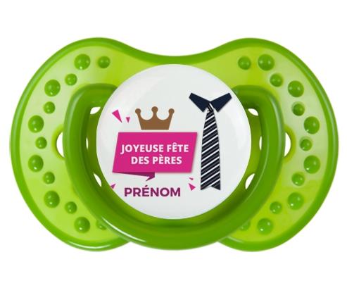 Joyeuse Fêtes des pères style 2 fille + prénom : 0/6 mois - Vert classique embout Lovi Dynamic
