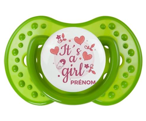It's a girl + prénom : 0/6 mois - Vert classique embout Lovi Dynamic