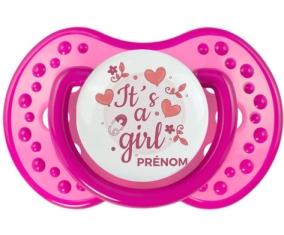 It's a girl + prénom : 0/6 mois - Rose classique embout Lovi Dynamic