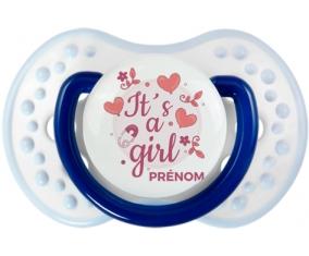 It's a girl + prénom : 0/6 mois - Marine-blanc-bleu classique embout Lovi Dynamic