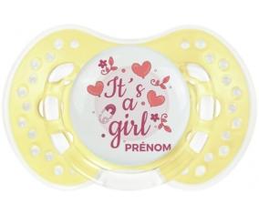 It's a girl + prénom : 0/6 mois - Trendy-jaune classique embout Lovi Dynamic