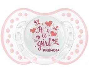 It's a girl + prénom : 0/6 mois - Retro-blanc-rose-tendre classique embout Lovi Dynamic