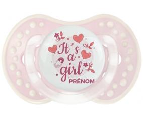 It's a girl + prénom : 0/6 mois - Retro-rose-tendre classique embout Lovi Dynamic