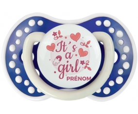 It's a girl + prénom : 0/6 mois - Bleu-marine phosphorescente embout Lovi Dynamic