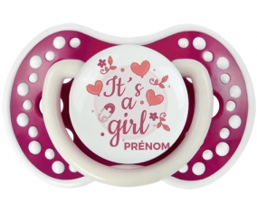 It's a girl + prénom : 0/6 mois - Fuchsia phosphorescente embout Lovi Dynamic