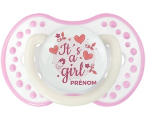 It's a girl + prénom : 0/6 mois - Blanc-rose phosphorescente embout Lovi Dynamic