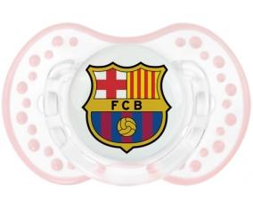 FC Barcelone + prénom : 0/6 mois - Retro-blanc-rose-tendre classique embout Lovi Dynamic