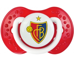 FC Bâle + prénom : 0/6 mois - Blanc-rouge classique embout Lovi Dynamic