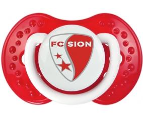 FC Sion + prénom : 0/6 mois - Blanc-rouge classique embout Lovi Dynamic
