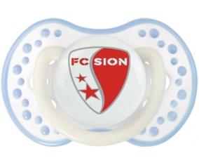 FC Sion + prénom : 0/6 mois - Blanc-cyan classique embout Lovi Dynamic
