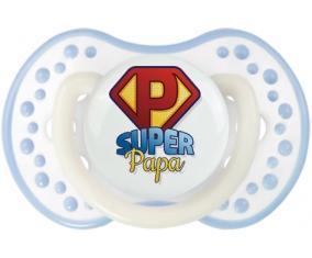 Super Papa + prénom : 0/6 mois - Blanc-cyan classique embout Lovi Dynamic