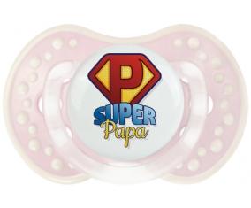 Super Papa + prénom : 0/6 mois - Retro-rose-tendre classique embout Lovi Dynamic