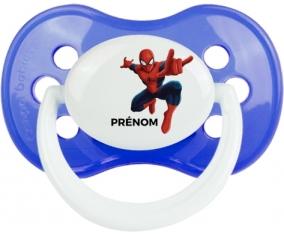 Spiderman + prénom : Bleu classique embout anatomique