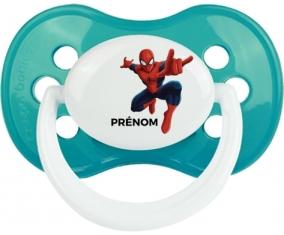Spiderman + prénom : Turquoise classique embout anatomique