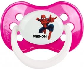 Spiderman + prénom : Rose foncé classique embout anatomique