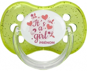 It's a girl + prénom : Vert à paillette embout cerise