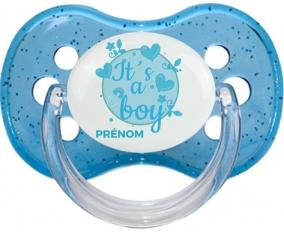 It's a boy + prénom : Bleu à paillette embout cerise