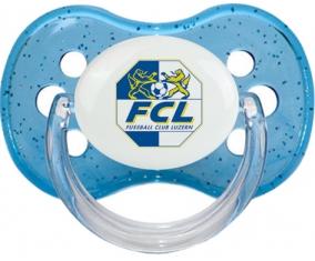 FC Lugano + prénom : Bleu à paillette embout cerise