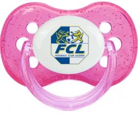 FC Lugano + prénom : Rose à paillette embout cerise
