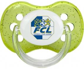 FC Lugano + prénom : Vert à paillette embout cerise