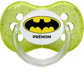 Batman + prénom : Vert à paillette embout cerise