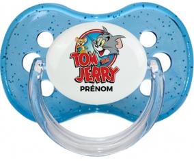 Tom & Jerry + prénom : Bleu à paillette embout cerise
